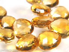 Genuine Premium Extra Golden Citrine Gemstones Faceted Heart Briolette Beads 6x