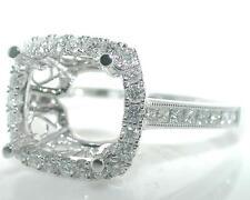 0.51 CT Halo CUSHION Diamond MOUNTING Ring Setting 18K White Gold by SIERA
