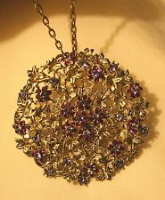 Gorgeous LRG Lacy Openwork Violet Flowers Rhinestone CBC Pendant Brooch Necklace