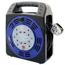 4 WAY 25M CABLE EXTENSION REEL LEAD MAINS SOCKET HEAVY DUTY 13 AMP ELECTRICAL