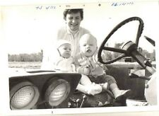 Old Vintage Photograph Mom With Two Babies Sitting in Old Vehicle Car Auto 1971