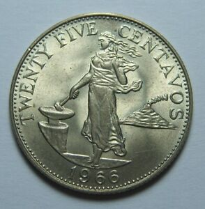 Uncirculated Philippines 1966 Twenty Five Centavos KM#189.2 Ref#761