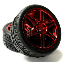 813202R 1/10 Scale RC Car On Road Touring Wheel and Tyre Plastic Red 6 Spoke 2