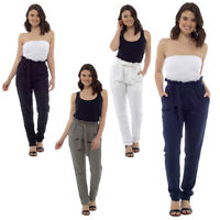 Ladies Linen Paperbag Waist Trousers Black White Khaki Navy 10 12 14 16 18 20 UK