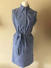 Vintage 1960's Light Denim Shirt Dress Size 8 Wiggle Secretary Mod