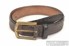 "MARTIN DINGMAN Brown ALLIGATOR CROCODILE Dress Belt - 1.125"" Wide - Size 32"