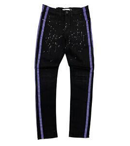 Men's Blind Trust Black Jeans with Purple Side Strip