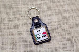 Lancia Y10 Keyring - Leatherette & Chrome Keyfob