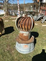 Vintage  Galvanized Metal Barn Roof Spinning Vent Wind Air Turbine Antique