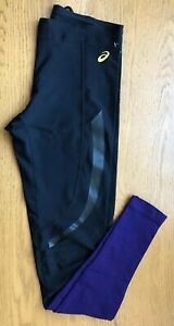 Asics Running and Fitness Tights Leggings Motion Muscle Black Purple Size Large