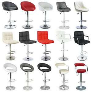 2×Bar Stools Leather Chairs Breakfast Chairs Swivel Gas Lift Kitchen Cushioned