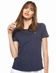 Tommy Jeans Women's Tjw Soft Jersey Crew Neck Tee, Blue and Black T Shirt S to L