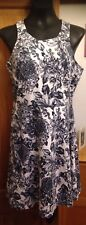 H&M CREAM & NAVY TONED FLORAL SLEEVELESS SHORTER LENGTH DRESS - SIZE L