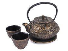 Ancient Coin Cast Iron Tea Set Gold #ts11-06go