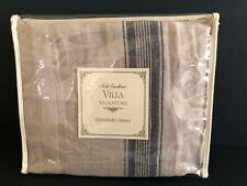 NOBLE EXCELLENCE Villa Signature JULIENNE Standard Sham TAN BLUE 100% Linen NWT