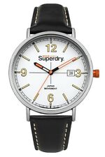 Superdry Mens Analogue Quartz Watch with Black Leather Strap SYG190B