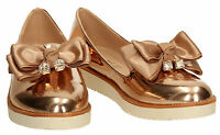 Womens Bow Metallic Ladies Rose Gold Pink Silver Loafer Brogues Slip Shoes Size