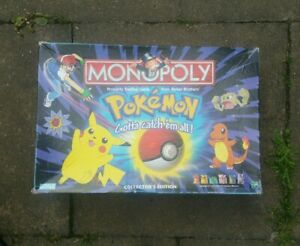 Vintage 1999 Pokemon Monopoly Collector's Edition (Incomplete) Hasbro Board Game