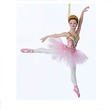 KURT ADLER PINK GLITTERED DANCING BALLERINA ON POINTE BALLET CHRISTMAS ORNAMENT