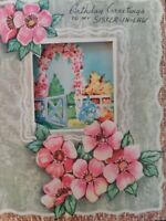 1940s Vtg Happy Birthday SISTER-IN-LAW Marchant Peek Window GREETING CARD