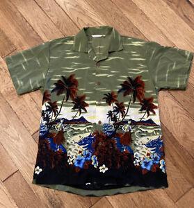 VLVWATV Men's Hawaiian Button Up Shirt L Large Hula Girls In Paradise Palm Trees