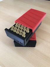 9mm Ammo Box 50 Round Storage Loading Tray, 3D Printed Red Lid Black Box