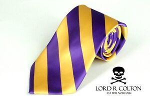 Lord R Colton Collegiate Stripe Tie - Purple & Gold Necktie - $95 Retail New