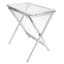 LeisureMod Victorian Clear Acrylic Foldable End Side Table Tray W/ Chrome base