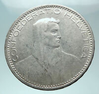 1923 B Switzerland Founding HERO WILLIAM TELL 5 Francs Silver Swiss Coin i82040
