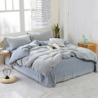 Shabby Chic Grey Duvet Cover Bedsheet Set Cotton  Queen King Size Bedding Set