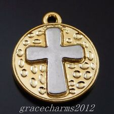 10pcs Gold Alloy Carved Rosary Cross Round Pendant Charms Fashion Jewelry 50035