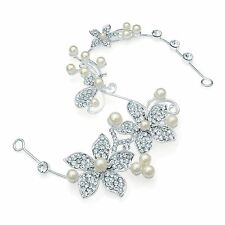 Silver Coloured with Cream Pearls and Crystal Wire Hair Piece - Weddings/ Proms