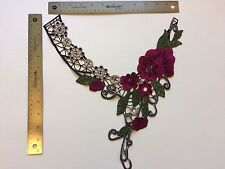 Neckline Collar Sew On Appliques Black/Red Rose Embellishments USA Fast Ship