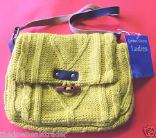 Ladies Knit Pocketbook Shoulder Bag Grand Sierra Yellow Gold Leather Strap NWT
