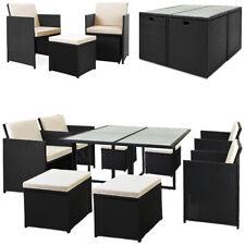 Casaria Conjunto de sillas y mesa 8+1 poliratán Diseño en forma de cubo Jardín