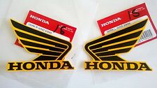 Honda Wing Fuel Tank Decal Wings Sticker 2 x 85mm BLACK & ORANGE 100% GENUINE