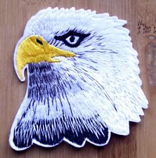 White Eagle Embroidered Iron Sew On Patch Raptor Badge Motif Biker Hawk Owl Bird