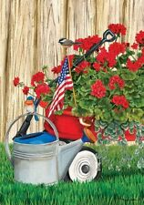 Geranium Wagon Patriotic Bluebird Chickadee Watering Can Summer Lg House Flag