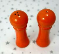 RETRO Orange Salt and Pepper Shakers Dome Top Collectable Vintage JAPAN