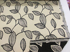 10 Metres Cream/Black Embossed Leaves Jacquard Curtaining/Upholstery Fabric.