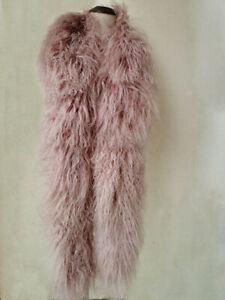 100% Real Mongolian Lamb Fur Scarf Curl Shawl Double Sides Lamb Neckerchief