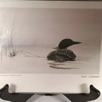 """1987 Sue Coleman Free Ride Common Loons Art Print 6 x 9"""" Signed Frameable Card"""