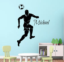 Football Wall Decal Name Boy Soccer Player Vinyl Stickers Play Room Decor KI45