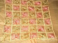 ANTIQUE FRENCH 1920's ART THREAD PINK OFF WHITE HANDMADE DOILIES