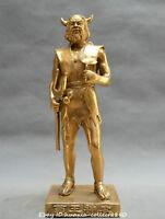 Chinese fengshui old bronze carve King of Medicine Shennong medical sage statue