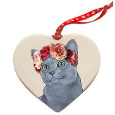 Russian Blue Cat Porcelain Valentine's Day Heart Ornament Pet Gift