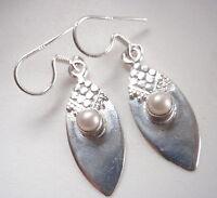 Cultured Pearl Tribal Style 925 Sterling Silver Dangle Earrings