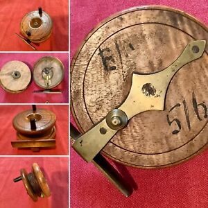 Very Early BRASS & WOOD Fishing Reel , With Writing/Number.