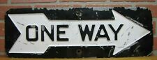 Old ONE WAY ARROW Embossed Metal Sign Transportation Industrial Plant Subway