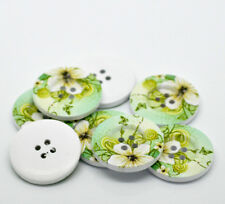 10 x PASTEL GREEN FLOWER BUTTONS, 30mm dia, 4 HOLES,  FREE POSTAGE **UK SELLER**